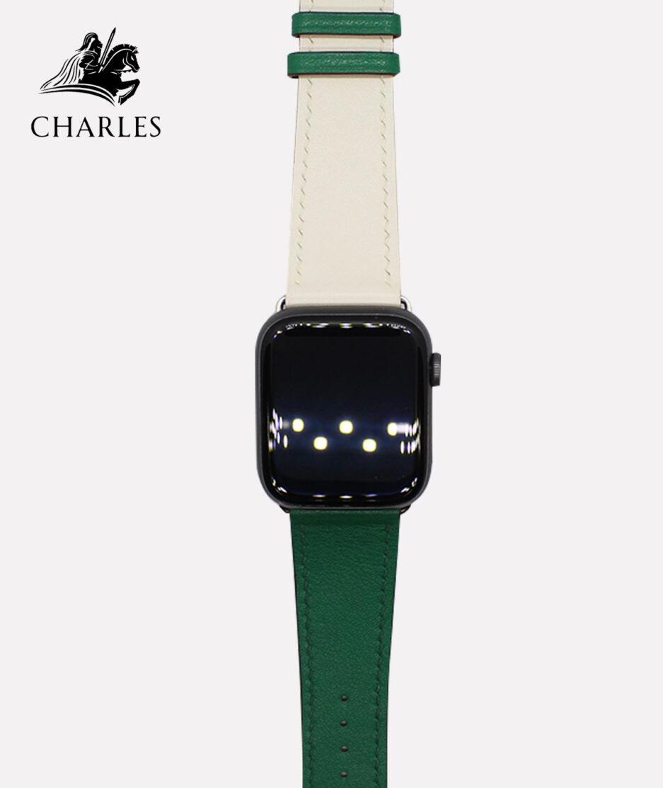 Dây da Apple Watch Charles cho đồng hồ Apple Watch Nappa Xanh Lá Kem